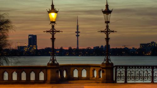 Sonnenuntergang an der Außenalster Hamburg No.20140224-5546
