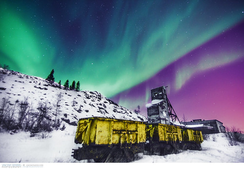 Aurora over Giant Mine close to Yellowknife