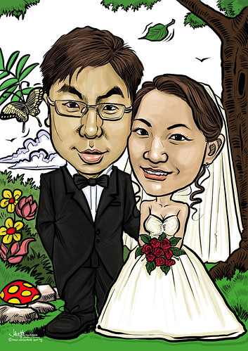 digital wedding couple caricatures