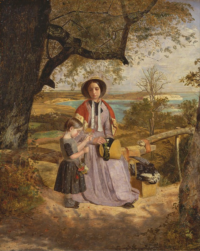 James Collinson - Mother and Child by a Stile, with Culver Cliff, Isle of Wight, in the Distance (c.1850)