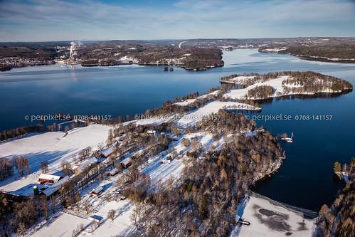 vinter sverige swe västragötaland flygfoto baldersnäs billingsfors ekebol