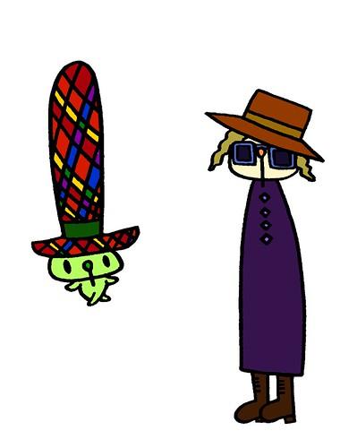 帽子をかぶったトールむーと高い帽子のむー