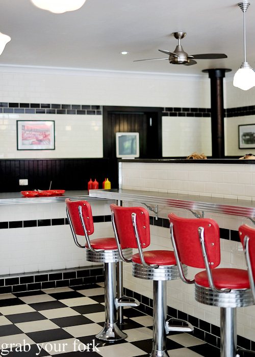 Low back swivel stools at Bernie's Diner, Moss Vale