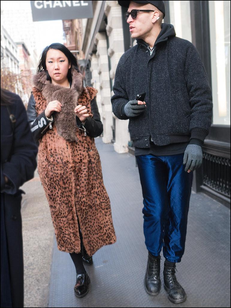 SS1-15  18w ankle length leopard vest over leather jacket fur scar chanel sign