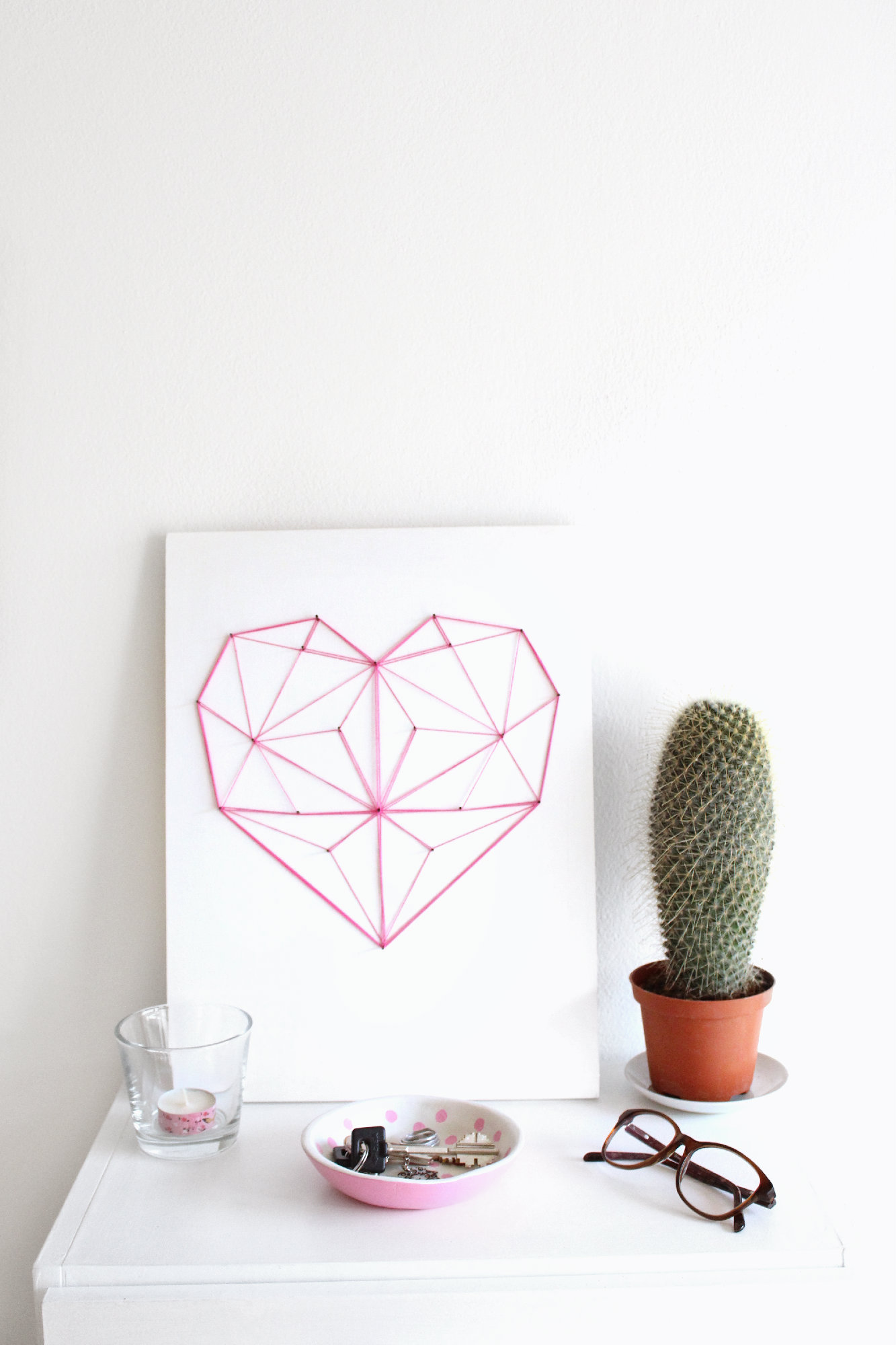 DIY geometric heart string art 13