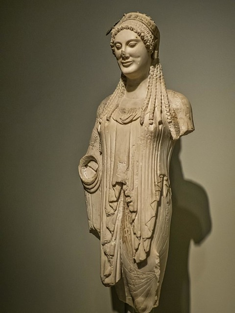 Votive Kore (Statue of a Young Woman) from the Athenian Acropolis Greek 520-510 BCE Parian Marble