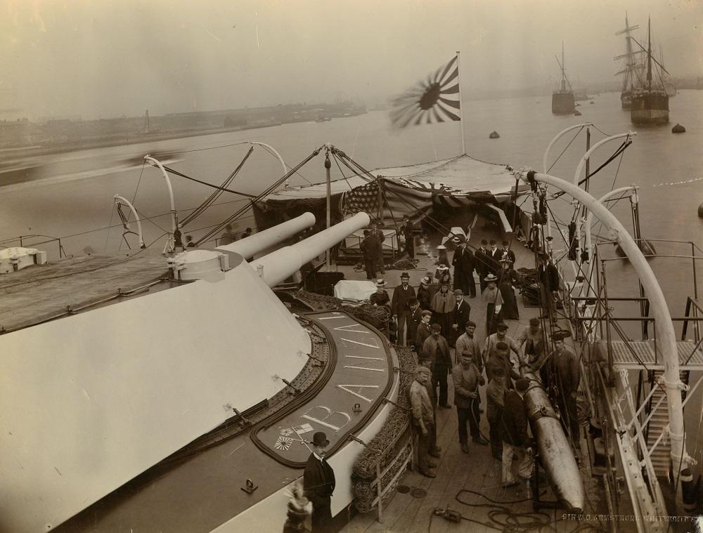 View on board the Japanese battleship 'Yashima'