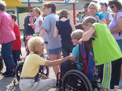 Mrs. Koch with friends during Play Day