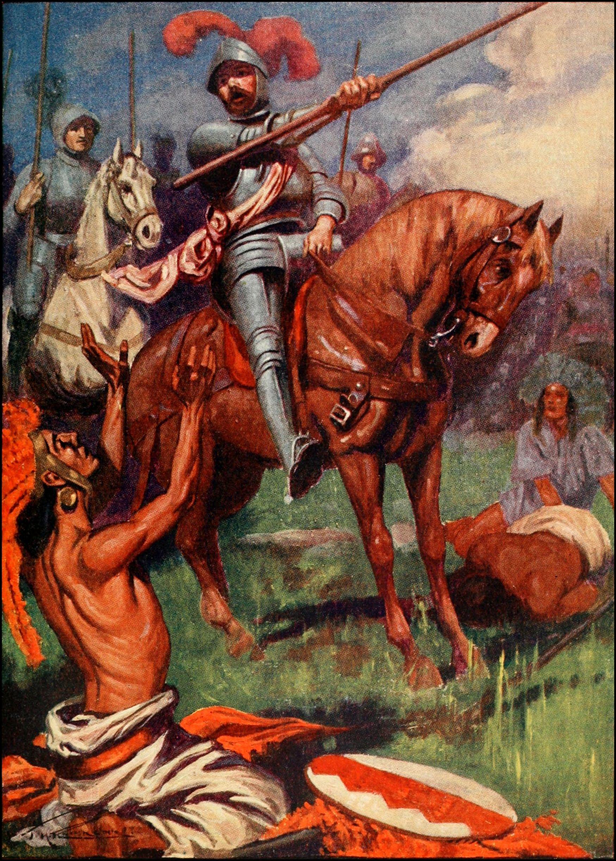 Conquistador español a caballo. Autora, Margaret Duncan Coxhead