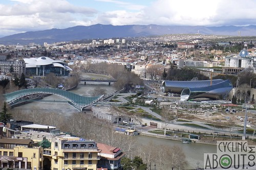 Tbilisi from above showing the modern architecture