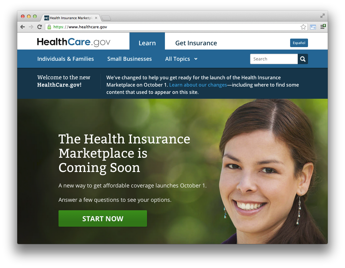The Healthcare.gov Homepage