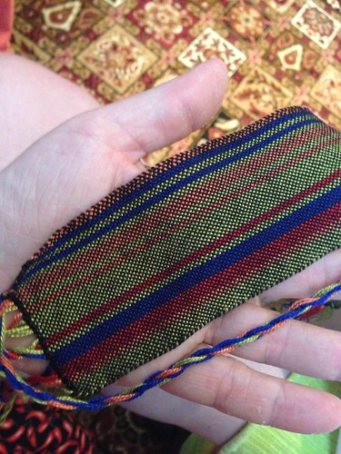 Test swatch for scarf knitted by Astrid Bear