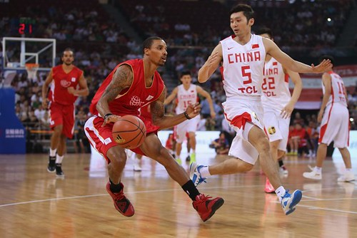July 1st, 2013 - George Hill dribbles toward the basket in the Yao Foundation charity game in Beijing