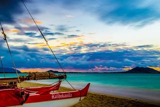 Image of Lanikai. ocean park travel blue sunset vacation beach water landscape boat nikon oahu scenic landmark tourist canoe hawaiian tropical honolulu bluehour fullframe nikkor fx kailua lanikai d600 sailingcanoe islandscene