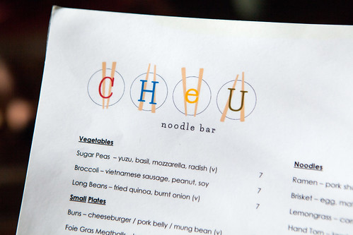Menu of Cheu Noodle Bar