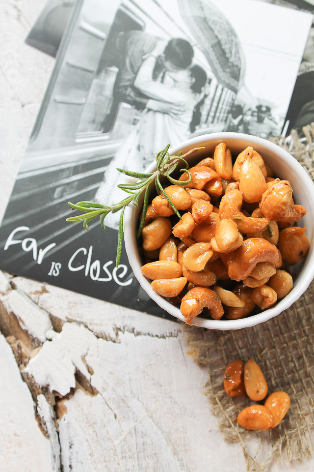 Honey & Olive Oil Roasted Nuts with Rosemary, Vanilla and Sea Salt
