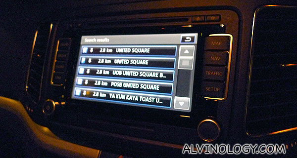 Using the car GPS to navigate around - it's pretty accurate and easy-to-use