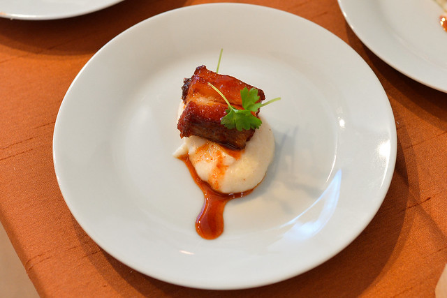 Little Fork maple glazed pork belly, johnny cake polenta