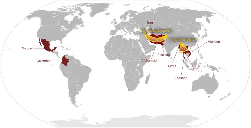 global heroin production Golden Crescent Golden Triangle