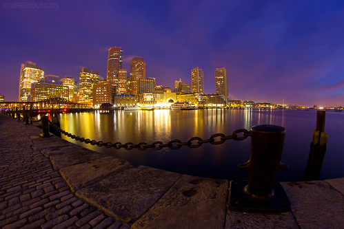 Break of Dawn over Boston Skyline and Fort Point Channel, Fan Pier Plaza South Boston by Greg DuBois Photography