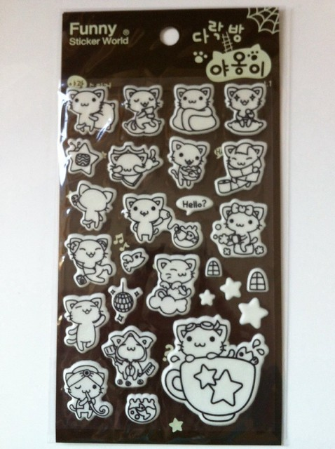 Glow in the dark cat stickers