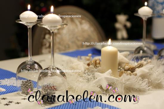 Inspiraciones manualidades y reciclaje centro de mesa for Adornos navidenos con copas y velas