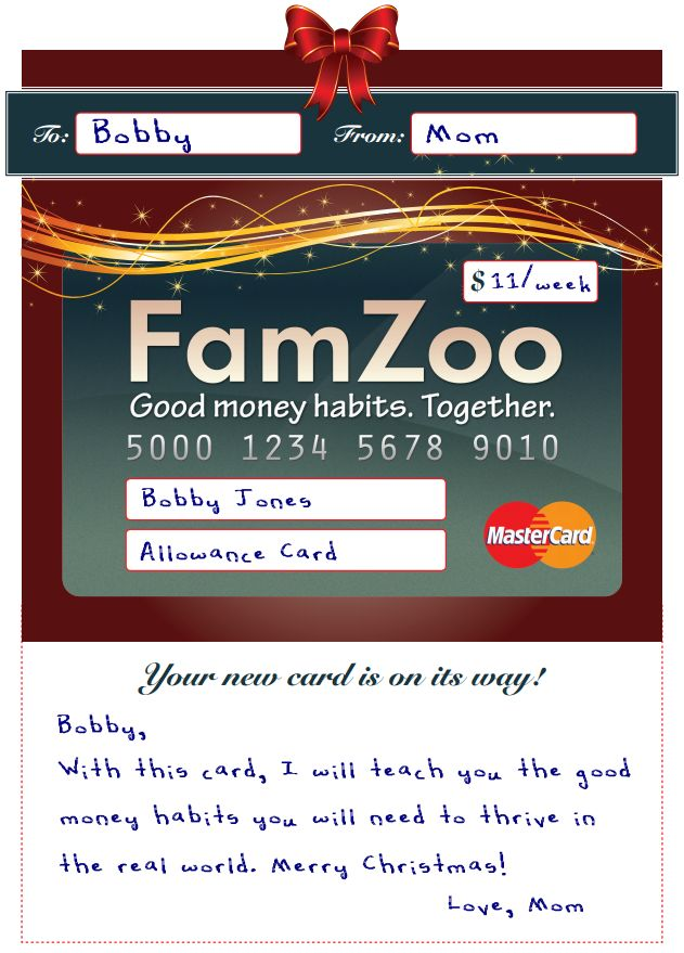 Sample FamZoo Card Certificate - Christmas Theme