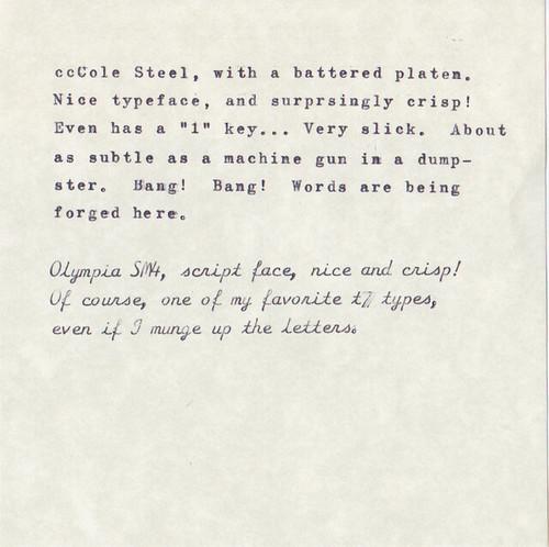 Type Samples from California Typewriter Type-In Dev 27, 2013