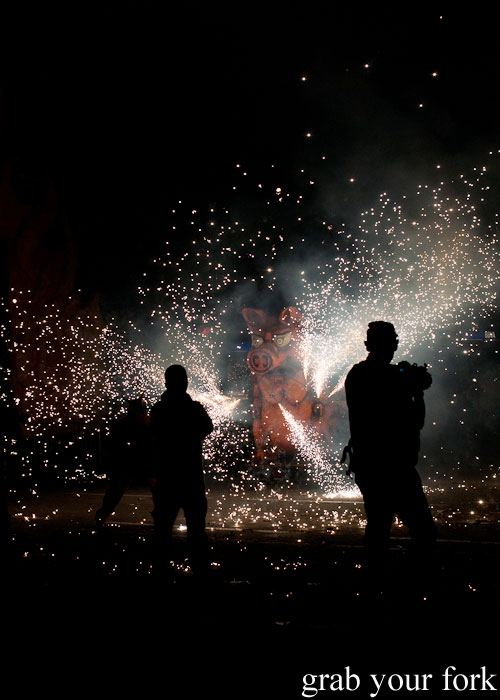 Pig spraying fireworks at Correfoc Fire Run for La Merce 2013