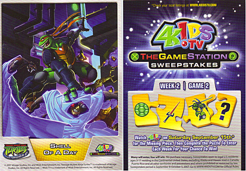 4KIDS TV - 'THE GAME STATION' :: K•B TOYS EXCLUSICE,LIMITED EDITION COLLECTIBLE CARDS // ..TEENAGE MUTANT NINJA TURTLES : FAST FORWARD card (( 2007 ))