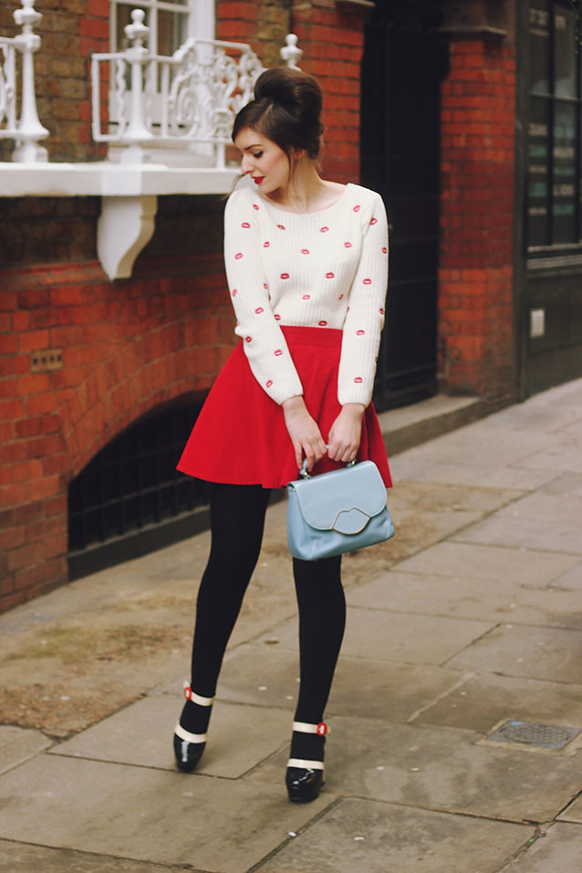 Lips Jumper Red Skirt Sixties Outfit