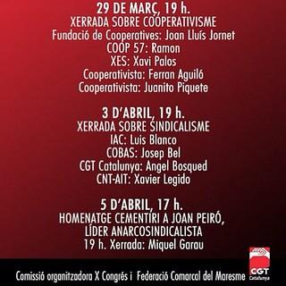 Jornades organitzem la cooperació prèvies al Xè Congrés #cgtcatalunya a #mataró