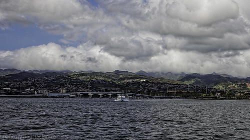 blue sky seascape water clouds landscape hawaii harbor boat dxo pearlharbor canonef24105f4l