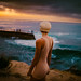 Contemplating the waves by sunset by Karl's