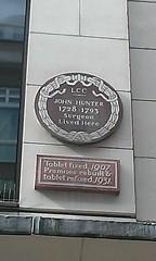 Photo of John Hunter brown plaque