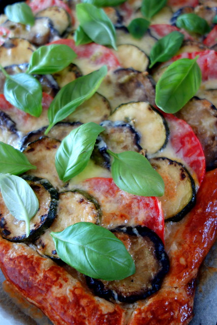 Zucchini, eggplant and tomato pie