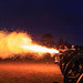 6lb Cannon firing at night. by David de Groot