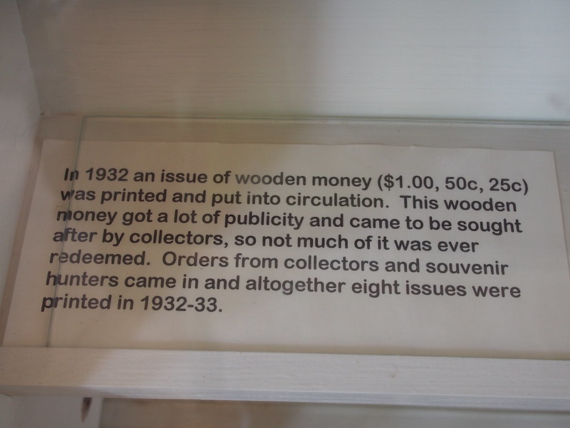 Tenino Wooden Bank Notes: I paid a visit to this museum, which is at the southernmost end of the Yelm–Tenino Trail.  The curator said that not many cyclists stop here, as they're probably too focused on their riding to check it out.