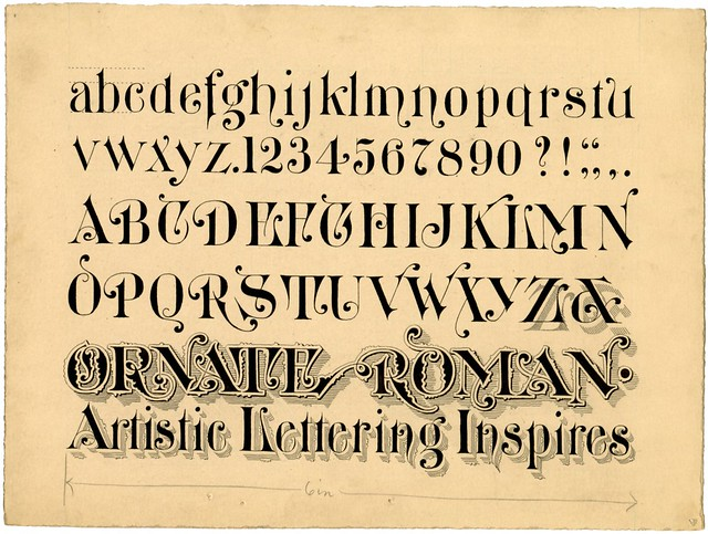 ink design of writings script - Ornate Roman