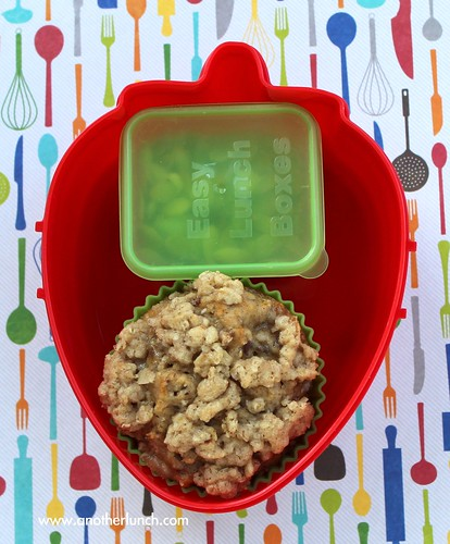 kindergarten snack - strawberry bento box - banana nut muffin and pumpkin seeds