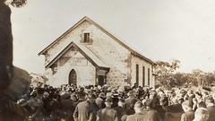Red Banks Church  service by Rev Hughes prior to opening