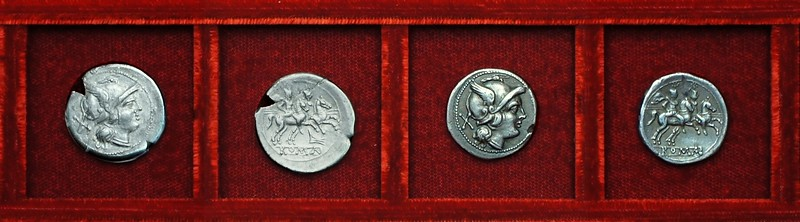 RRC 062 rostrum tridens early issue denarius and related anonymous denarius, Ahala collection, coins of the Roman Republic