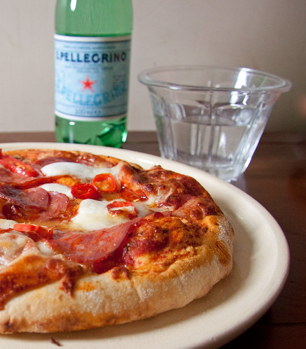 Pizza with Salami, Chillies and Mozzarella