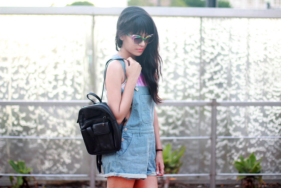 Rainbow Cat Eye Sunglasses, mini black leather backpack, watercolor scuba crop top, and Lily Platform shoes via shoptarte.com Tarte Vintage, Motel Rocks denim dunagrees overalls