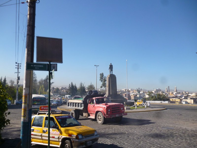 Morning traffic at Olvalvo Grau roundabout in Arequipa. Look deeper into the photo to see the traffic jam.