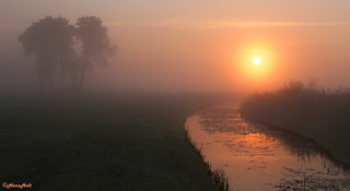 foggy sunrise above the Oude Diep