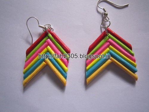 Handmade Jewelry - Rolled Bar Paper Earrings (Angular) (1) by fah2305