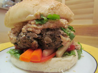 Burgers - Lentil Burger with Peanut Sauce, Pickled Carrot and Daikon