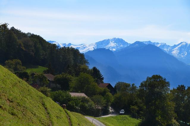 Paisaje de Suiza con casas