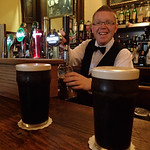 Our awesome Bartender at Ballynahinch Castle serving up the Guinness